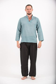 Mens Yoga Shirts No Collar with Coconut Buttons In Aqua