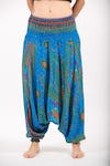 Peacock Eye Jumpsuit Harem Pants in Blue
