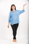 Womens Yoga Shirts Nehru Collared In Blue