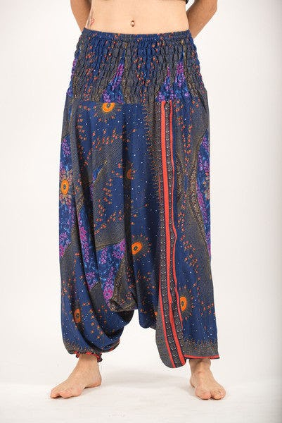 Peacock Eye Jumpsuit Harem Pants in Navy