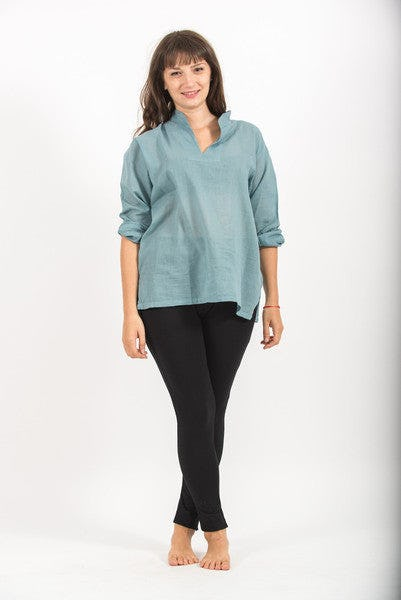 Womens Yoga Shirts Nehru Collared In Aqua