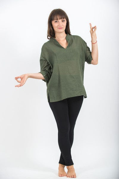 Womens Yoga Shirts Nehru Collared In Olive