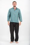 Mens V Neck Collar Yoga Shirt in Aqua