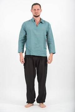 Mens Yoga Shirts Nehru Collared In Black