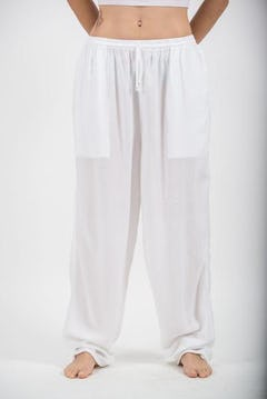 Thailand Super Soft Organic Cotton Double Tiered Pants Drawstring Elastic White