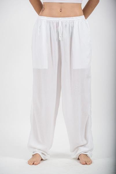 Unisex White Super Soft Cotton Yoga Pants