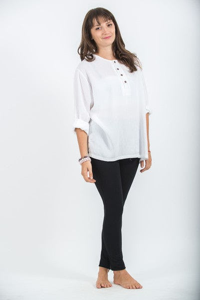 Womens Yoga Shirts No Collar with Coconut Buttons In White