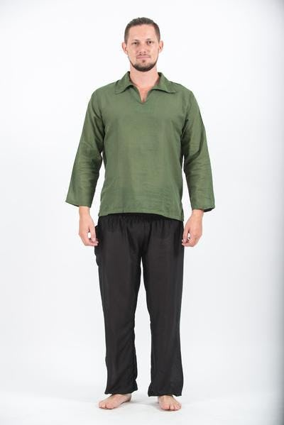 Mens Yoga Shirts Collar V Neck In Olive