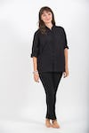 Womens Yoga Shirt Chinese Collared In Black