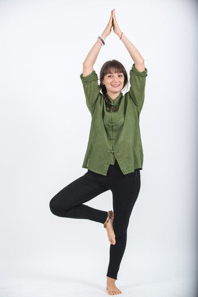 Womens Yoga Shirt Chinese Collared In Olive