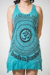 New Sure Design Womens Flower Ohm Tank Dress Turquoise