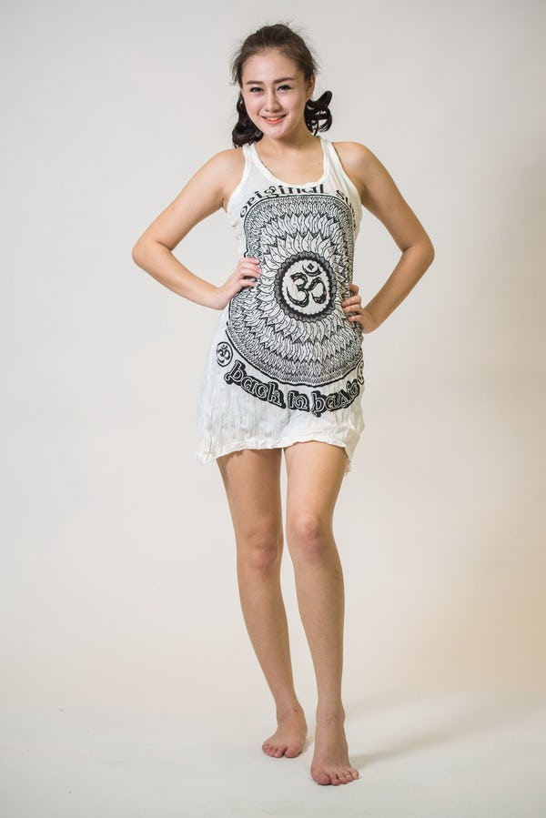 New Sure Design Womens Flower Ohm Tank Dress White