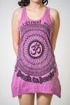 Womens Flower Om Tank Dress in Pink