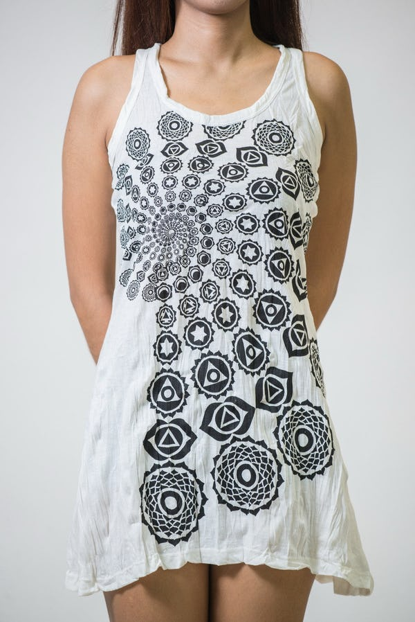 Sure Design Womens Chakra Fractal Tank Dress White