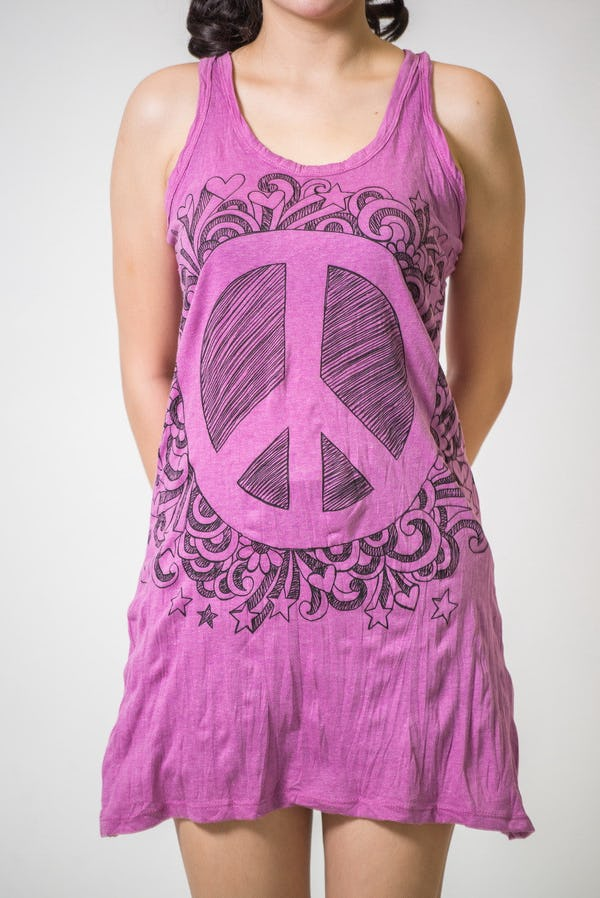 Womens Peace Sign Tank Dress in Pink
