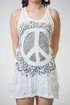 Sure Design Womens Peace Tank Dress White