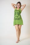 Womens Peace Sign Tank Dress in Lime