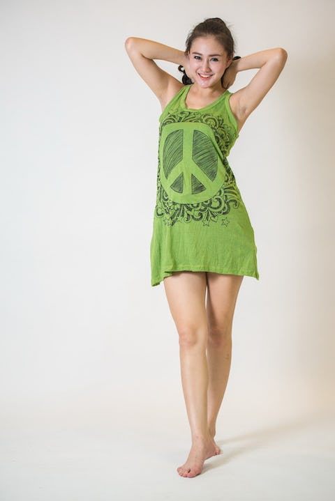 Sure Design Womens Peace Tank Dress Lime