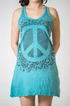 Sure Design Womens Peace Tank Dress Turquoise