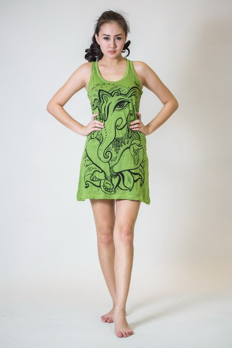 Sure Design Womens Tank Dress Cute Ganesha Lime