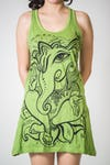 Womens Cute Ganesh Tank Dress in Lime