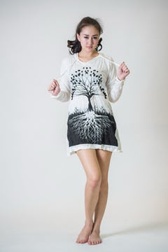 Sure Design Womens Tree Of Life Long Sleeve Hoodie Dress Black