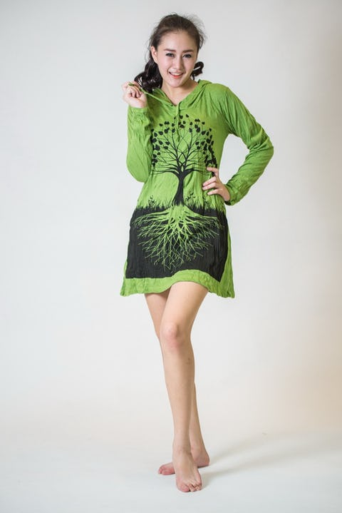 Womens Tree of Life Hoodie Dress in Lime