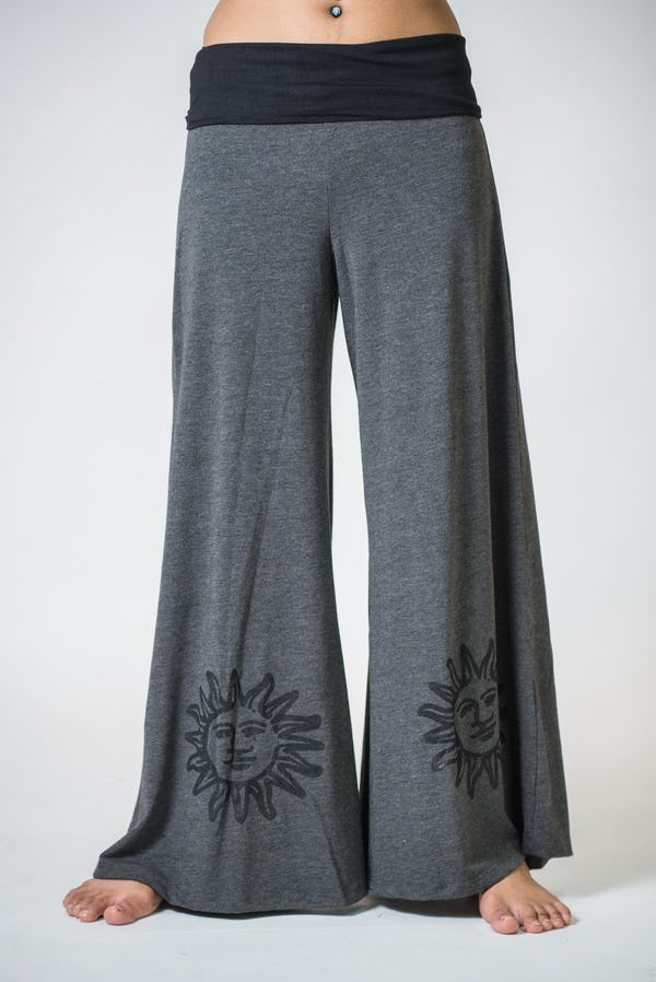 Wide Leg Palazzo Harem Pants Cotton Spandex Printed Sun Gray