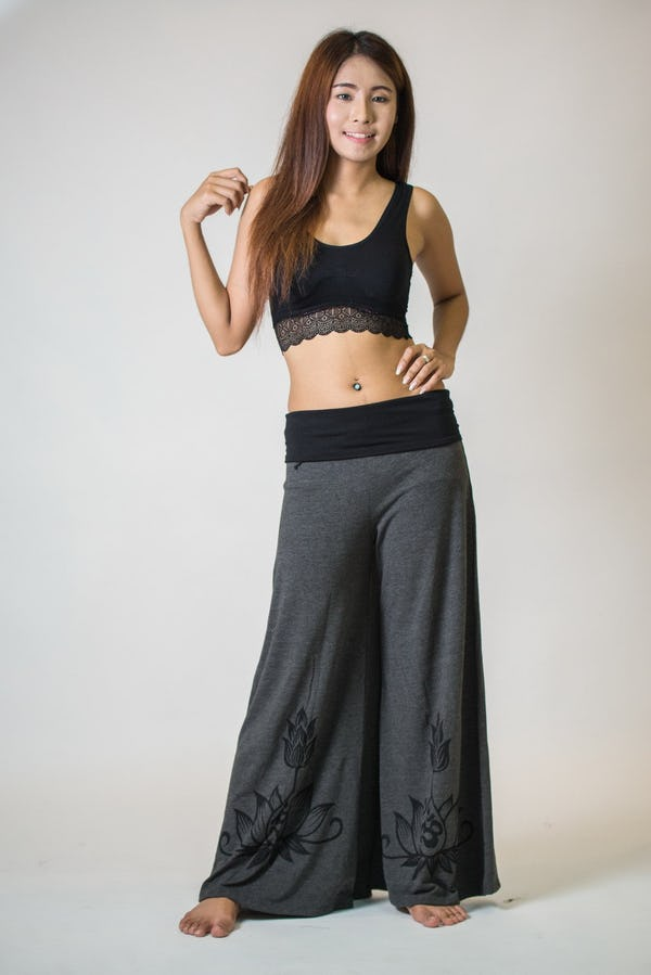 Wide Leg Palazzo Harem Pants Cotton Spandex Printed OM Bloom Gray