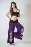 Wide Leg Palazzo Harem Pants Cotton Spandex Printed 3 Lotus Purple