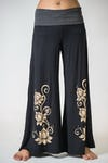 Wide Leg Palazzo Harem Pants Cotton Spandex Printed 3 Lotus Black