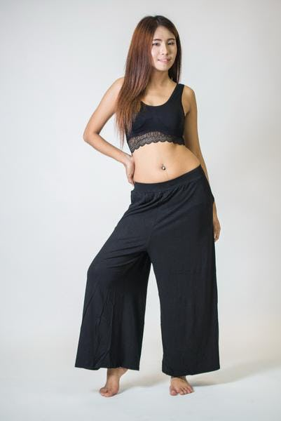Wide Leg Palazzo Harem Pants Cotton Solid Black