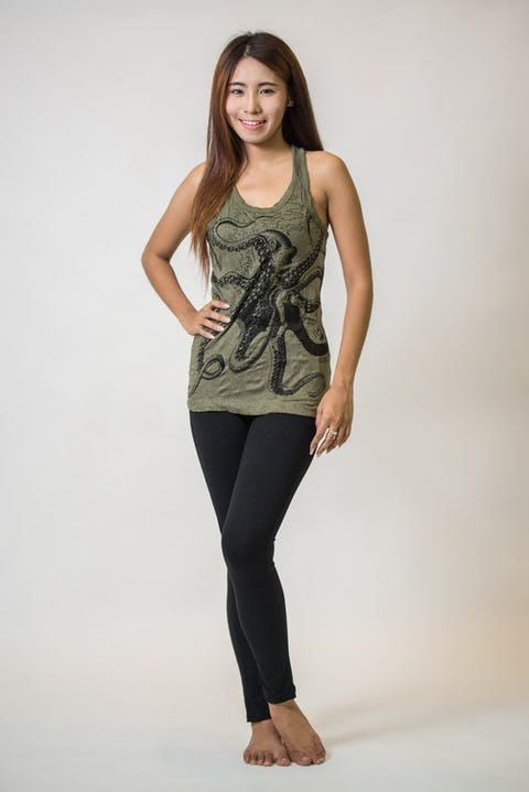 Sure Design Womens Octopus Tank Top Green