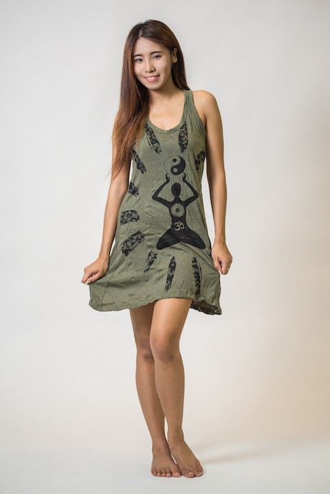Sure Design Womens Yin Yang Yoga Tank Dress Green