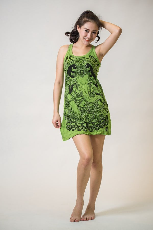 Sure Design Womens Batman Ganesh Tank Dress Lime