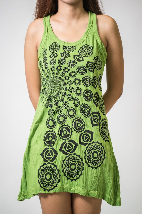 Sure Design Womens Chakra Fractal Tank Dress Lime