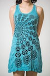 Sure Design Womens Chakra Fractal Tank Dress Turquoise