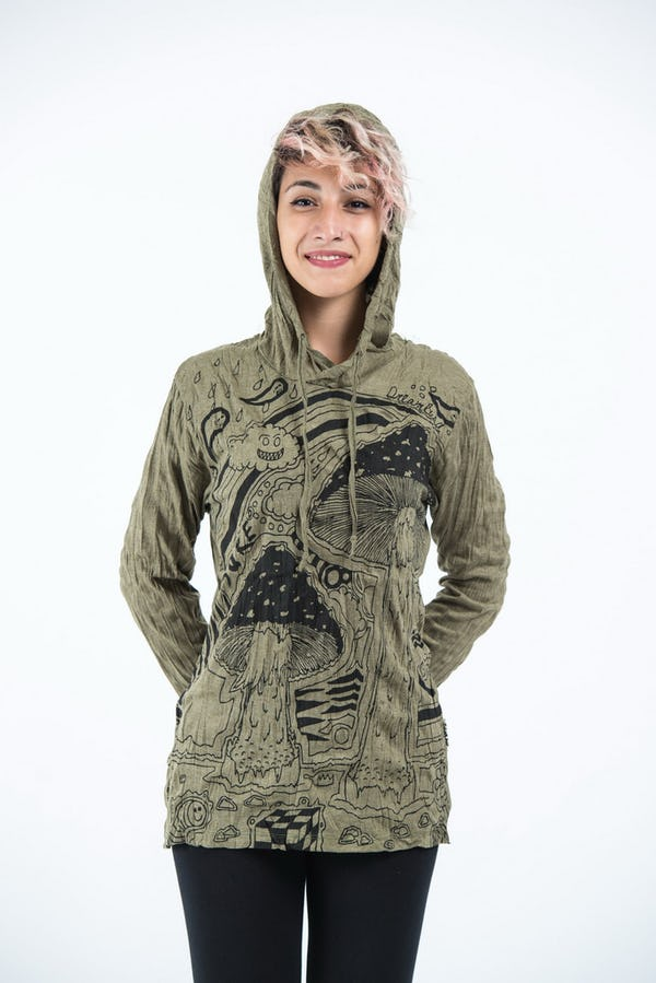 Sure Design Unisex Magic Mushroom Hoodie Green