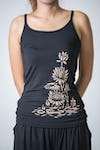 Cotton Spandex Super Soft Women's Tank Top Lotus Blossom Black