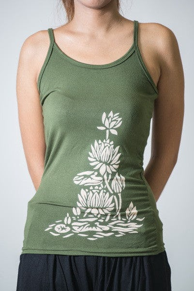 Cotton Spandex Super Soft Women's Tank Top Lotus Blossom Olive