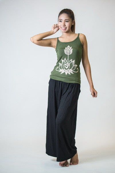 Cotton Spandex Super Soft Women's Tank Top Om Bloom Olive