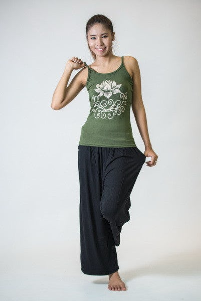 Cotton Spandex Super Soft Women's Tank Top Lotus Olive