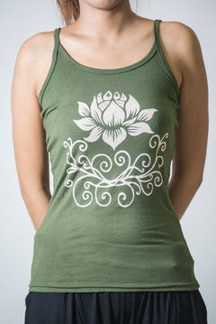 Cotton Spandex Super Soft Women's Tank Top Buddha Eyes Green