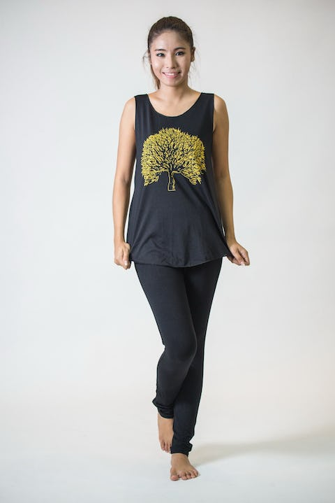 Super Soft Womens Tree Tank Top Gold on Black