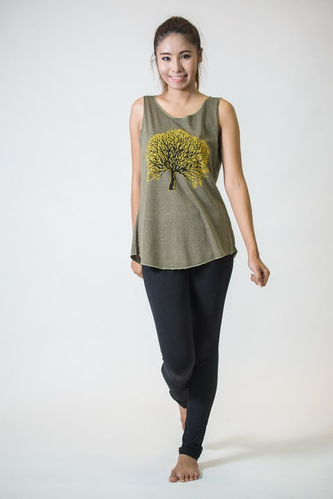 Super Soft Womens Tree Tank Top Green
