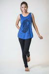 Super Soft Womens Buddha Hand Tank Top Blue