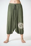 Drawstring Low Cut Harem Pants Cotton Spandex Printed Sun Olive