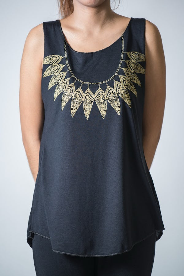 Super Soft Womens Feather Necklace Tank Top Gold on Black