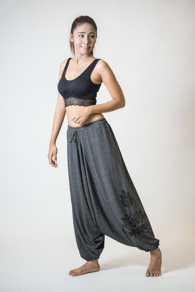 Drawstring Low Cut Harem Pants Cotton Spandex Printed OM Bloom Gray