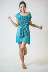 Sure Design Womens Chakra Fractal Dress Turquoise